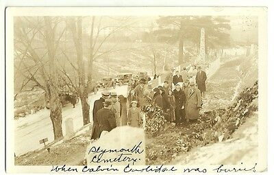 Calvin Coolidge Funeral Service Plymouth Vermont Cemetery Real Photo Post Card