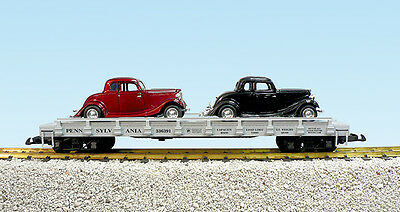 USA Trains G Scale 1723C Auto Flat Car Pennsylvania #336394 w/2 34 Ford Coupe