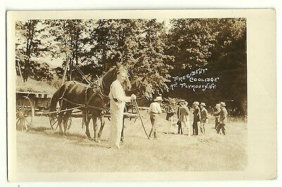 Calvin Coolidge At Home Farming Plymouth Vermont  Real Photo Post Card