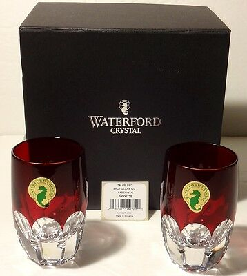Pair Waterford Mixology Crystal Shot Glasses Talon Red