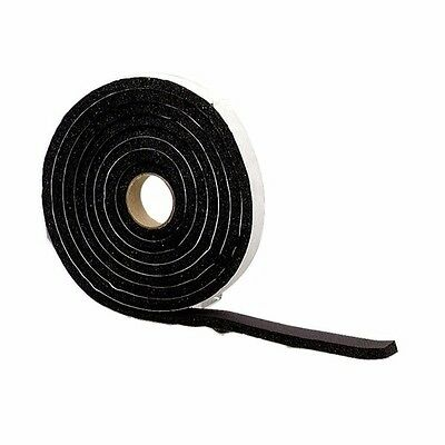 "MD Building 22411209 Sponge Rubber Tape, 1/4"" X 1/2"" X 10', Closed Cell, Black"
