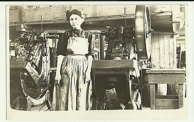 Female Woman Factory Worker Real Photo Post Card 1915 + -