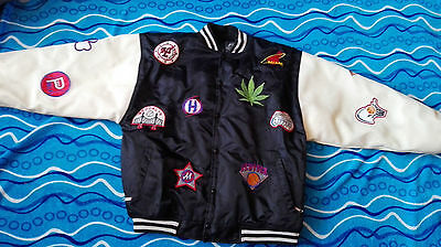 Raw Blue college winter jacket basketball badges size L leather sleeves unique