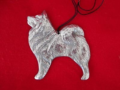NEW Samoyed Eskimo Dog Akita Metal Ornament Silver Gleaming