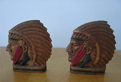 Pair Bookends American Indian Chief W/head Dress Genuine Burwood W/sticker