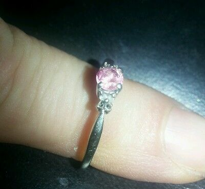 9 ct gold white pink sapphire and diamond  ring scrap or donor