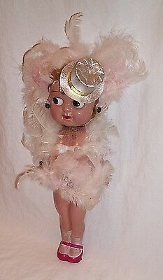 Celluloid carnival Kewpie doll made in Japan feathers top hat 1940s? 11 inch