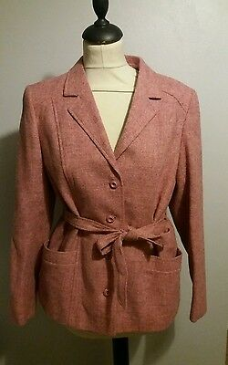 pink vintage ladies belted suit jacket 40s 50s 60s 70s size 12-14