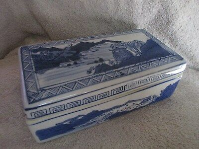 Covered Antique Chinese Porcelain Qianlong Mark Blue White Landscape
