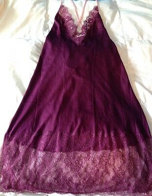 Victoria's Secret Nightgown Purple Pink Lingerie Large Lace New NWT Babydoll
