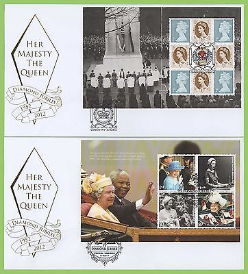G.B. 2012 Diamond Jubilee set of 4 booklet pane Buckingham First Day Covers