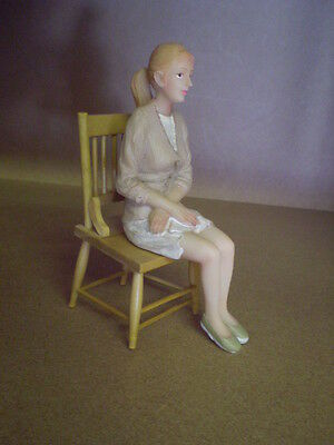 Dolls house figure 1/12th scale poly/resin modern Lady sitting