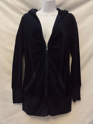 Juicy Couture LONG WOMENS NAVY Velour Hoodie Zip FRONT Jacket Size M