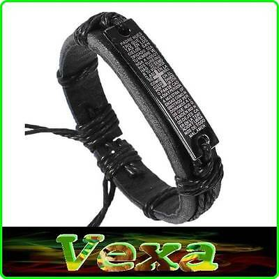 Black Genuine Leather Bracelet Cross prayer Our Father Bible Mens Wristband BR13