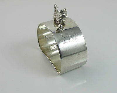 Solid Silver Napkin Ring with West Highland Terrier Full Hallmark 1931 - 37.4 G