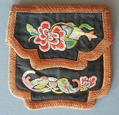 Antique Chinese Qing Dynasty Embroidered Purse