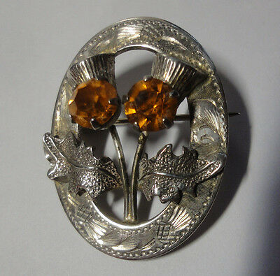 Embossed Oval WBS Sterling Silver Brooch Citrines & Thisltes Lovely Vintage Pin