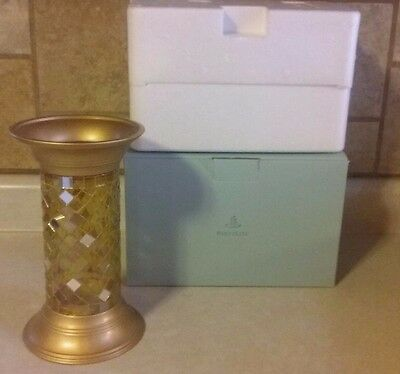 "Partylite GOLD MOSAIC COLUMN 9"" CANDLE HOLDER P9903 Retired Mint in Box"