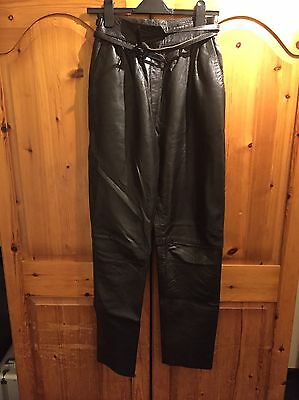 """70's / 80's Real Leather Vintage Retro Trousers Size 10 / 28"""" Waist"""