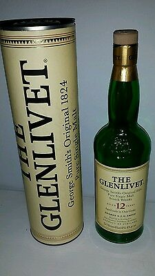 glenlivet whisky bottle and container. Empty.
