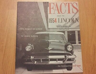 """Vintage """"Facts About the 1954 Lincoln"""" Sales Advertising Brochure Booklet"""