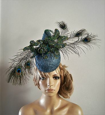Teal/peacock/fascinator/ladies/percher/hat/vintage/ascot/wedding/bride/races