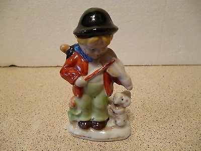 Vintage Goebel Style Figurine-Boy with Fiddle & Dog Made in Occupied Japan