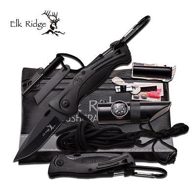 Elk Ridge Black Survival Kit hunting camping, fishing pocket knife
