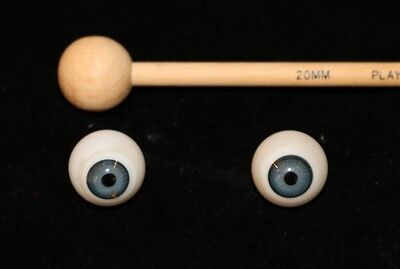 Antique Glass Eyes for German Bisque Head Dolls-20mm Slate/Gray Blue-Hand Blown