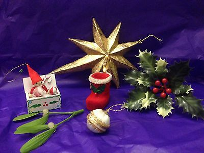 Vintage Christmas Tree Hanging Decorations Baubles X 6