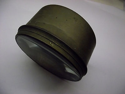 """Very large brass twin glass magnifying lens, possibly off a telescope. 6"""" dia."""