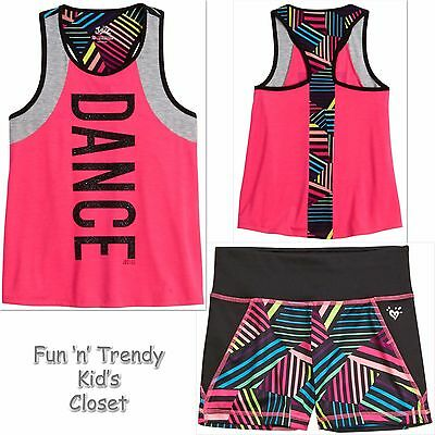 NWT Justice Girls Size 12 14 Compression Shorts Dance Tank Top Activewear SET