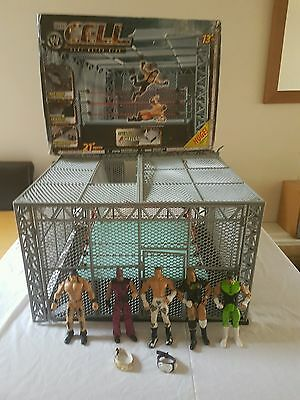 WWE WWF The Cell Cage Match Ring With Wrestlers & Belts *BIG RING*