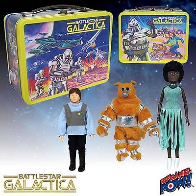 Battlestar Galactica Retro Tin Tote lunch box w/Figures Convention Exclusive NEW