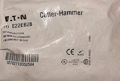 EATON CUTLER HAMMER E22EB2B Red Non Illuminated Pushbutton Extended 1 NC Contact