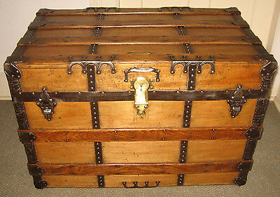 Antique Steamer Trunk Vintage Victorian Flat Top Wood Chest Omaha Trunk Co C1890