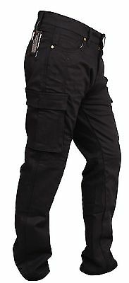 MENS MOTORCYCLE BLACK CARGO JEANS REINFORCED WITH DuPont™ KEVLAR ® ARAMID FIBRE