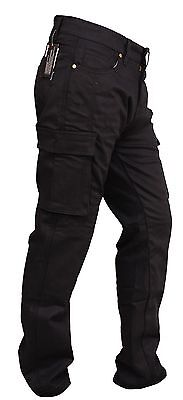 MENS MOTORCYCLE BLACK CARGO JEANS REINFORCED WITH DuPont™ KEVLAR ®