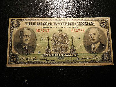 1943 Royal Bank Of Canada $5 Five Dollars Rarest Last Issue 630-20-02