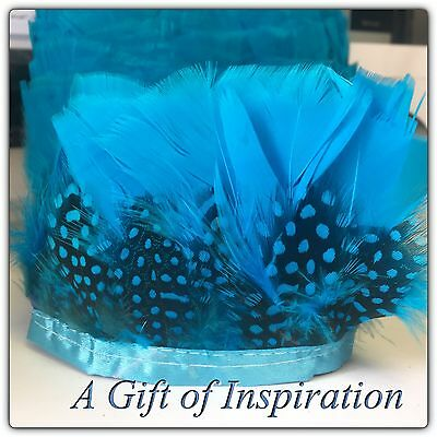 Blue Turkey Guinee Fowl Feather Fringe Ribbon Trim (price for 30cm) DIY Craft