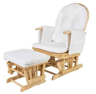 Glider Baby Breast Feeding Nursing Sliding Rocking Chair w/ Ottoman Natural Wood