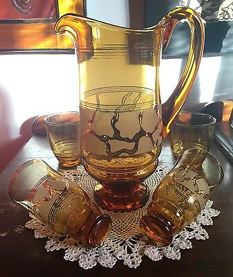 STUNNING VINTAGE AMBER GLASS WATER JUG/PITCHER with Glasses