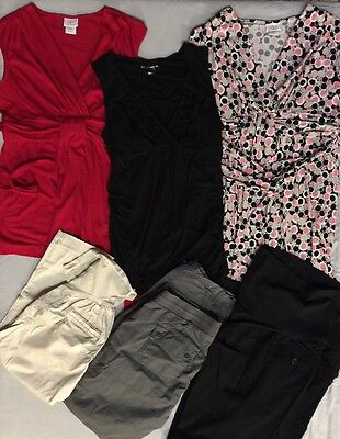 Lot of 6 Maternity Pants Dress Tops, Size MEDIUM. Free PRIORITY Shipping!