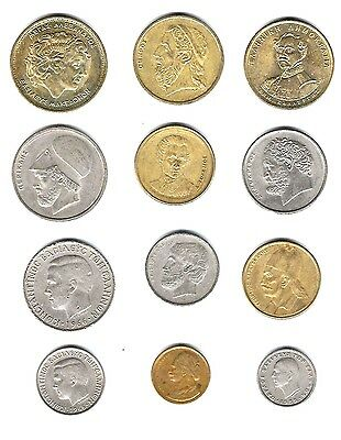 Greece,12 quality coins w/Homer,Pericles,Aristotle,Constantine II,Paul I + Comm.