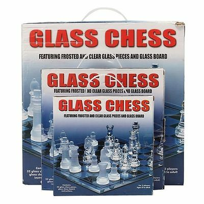 Traditional 32 Pieces Glass Chess Board Set Game Frosted Transparent Chessboard