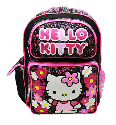 "Sanrio Hello Kitty Floral Girls 16"" Canvas Pink & Black School Backpack"