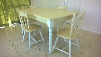 Wooden Pine Dining Room Table And Chairs