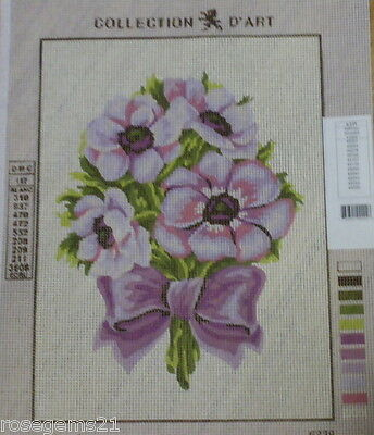 VIOLET FLOWERS & BOW~ Tapestry/Needlepoint CANVAS (NEW)
