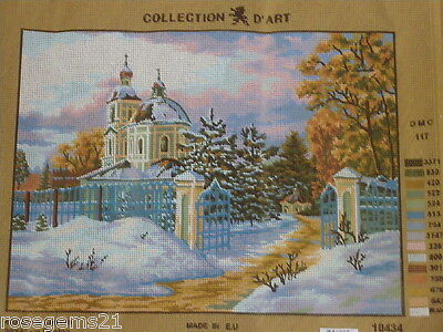 MANSION SURROUNDED BY SNOW - Needlepoint/Tapestry (NEW)