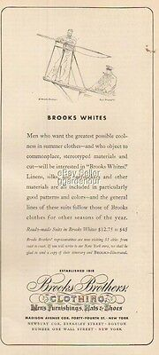 1937 Brooks Brothers Mens Fashion Store NY~Harpoon Fishing Paul Brown Art Ad
